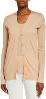 Sies Marjan Wide-Rib V-Neck Wool Cardigan Sweater