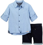 Hudson Button Front Shirt & Short 2-Piece Set (Toddler Boys)