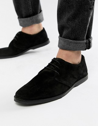 ASOS DESIGN derby shoes in black suede with piped edging