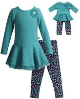 Dollie & Me Girls 4-14 Textured Knit Peplum Top & Heart Leggings