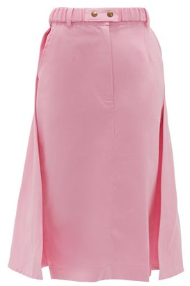 Symonds Pearmain - Panelled Cotton Midi Skirt - Womens - Pink