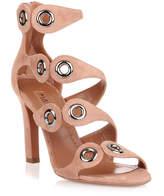 Alaia Tan suede eyelet sandal
