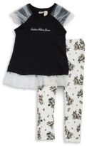 Calvin Klein Girls Tulle Accented Top and Leggings Set