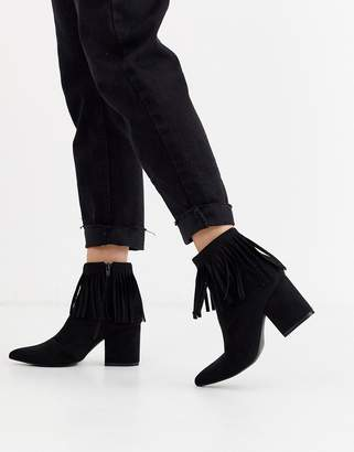 Glamorous suede fringed ankle boots-Black
