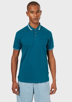 Emporio Armani Pique Polo Shirt With Piped Collar