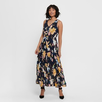 Only Floral Sleeveless Maxi Dress with Ruffled Neckline