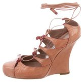 Tabitha Simmons Leather Lace-Up Wedges