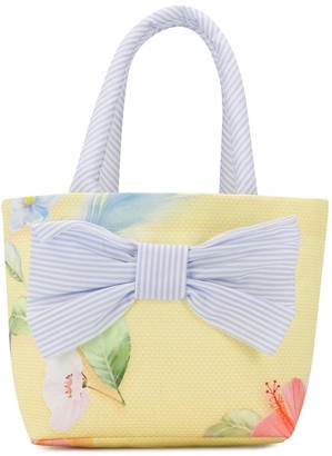 Lapin House Floral-Print Bow Detail Tote Bag