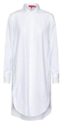 HUGO BOSS Long dropped-hem blouse in organic cotton with slogan prints