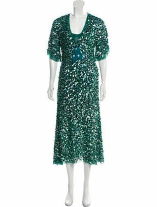 Luisa Beccaria Plunge Neckline Long Dress Green