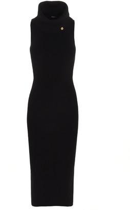 Balmain Turtleneck Sleeveless Midi Dress