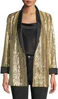 Alice + Olivia Jace Shawl-Collar Oversized Sequin Tux Blazer