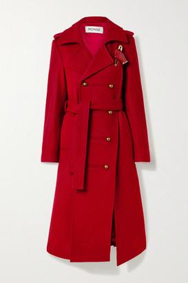 Monse Asymmetric Embellished Wool-blend Coat - Claret