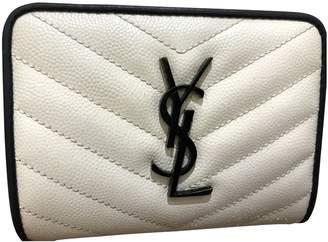 Saint Laurent Monogramme White Leather Wallets
