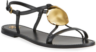 Tory Burch Patos Leather Flat Slingback Sandals