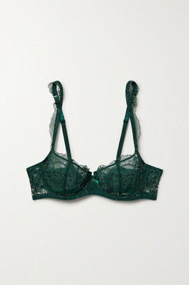 Journelle Isabel Lace And Tulle Underwired Bra - Emerald