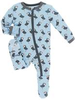 Kickee Pants Orca Print Footie - Blue, Size 0-3m