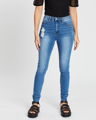 Missguided Sinner Clean Distressed Skinny Jeans