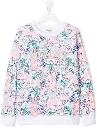 Kenzo TEEN animal-print logo-embroidered sweatshirt