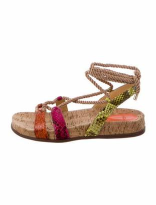 Alexandre Birman Python Colorblock Pattern Sandals Orange