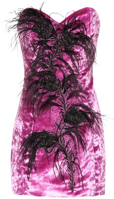 ATTICO Feather trim velvet bustier dress
