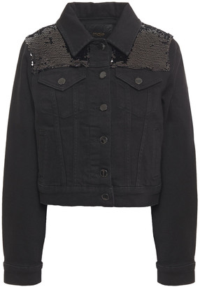 Maje Sequin-embellished Denim Jacket
