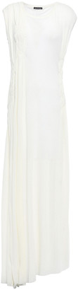 Ann Demeulemeester Shirred Ribbed Cotton And Cashmere-blend Jersey Maxi Dress