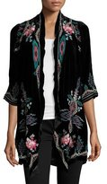 Johnny Was Aveza Draped Velvet Coat, Petite