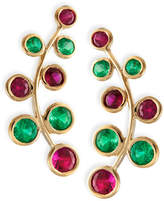 Rina Limor Fine Jewelry 18k Yellow Gold Vine Earrings with Rubies & Emeralds