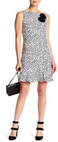 Taylor Sleeveless Polka Dot Print Floral Applique Dress
