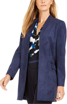 Calvin Klein Faux-Suede Open-Front Topper Jacket