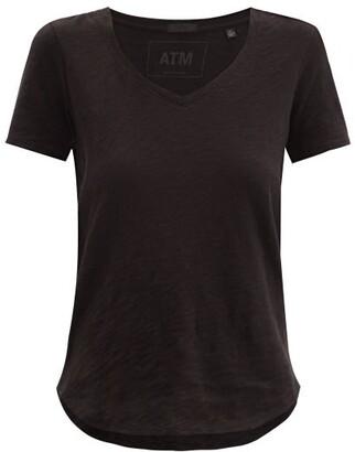 ATM - V-neck Slubbed-cotton T-shirt - Black