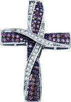 TheJewelryMaster 0.57ctw Champagne Cognac Round Diamond Cross Pendant