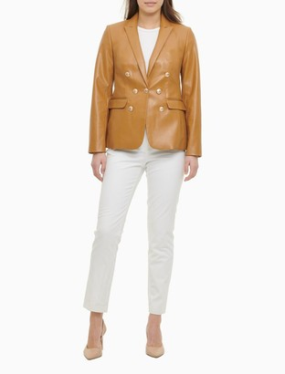 Calvin Klein Double Breasted Faux Leather Blazer