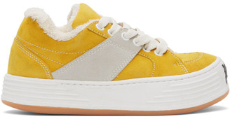 Palm Angels Yellow Suede Snow Low Top Sneakers