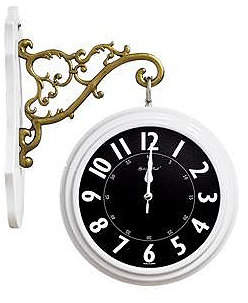 Golden Bell Double-Sided 360 Degree Rotation Silent Non-Ticking Wall Clock
