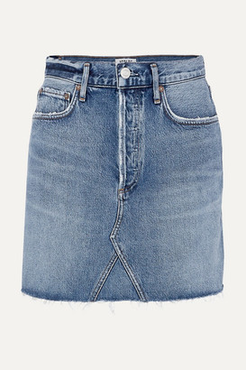 A Gold E Agolde AGOLDE - Ada Distressed Organic Denim Mini Skirt - Mid denim