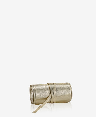 GiGi New York Small White Gold Jewelry Roll, Metallics Leather