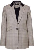 Rag & Bone Ridley Velvet-trimmed Checked Wool And Cotton-blend Blazer - Gray