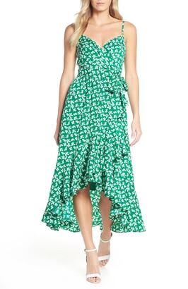 Brinker & Eliza Floral High/Low Faux Wrap Midi Dress