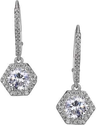 Reign PAJ-Bridal Rhodium-Plated Sterling Silver Crystal Hexagon Drop Earrings