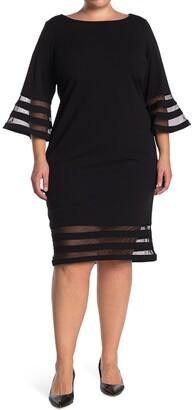Calvin Klein Illusion Stripe Bell Sleeve Sheath Dress