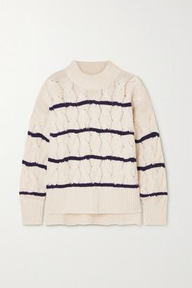 Apiece Apart La Vid Striped Cable-knit Cashmere Sweater - Cream
