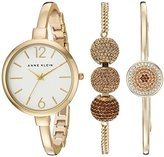 Anne Klein Women's AK/2350BNST Multi-Colored Swarovski Crystal Accented Gold-Tone Bangle Watch and Bracelet Set