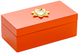 Mapleton Drive Medium Lacquer Box with Lotus & Natural Mineral