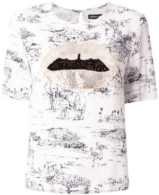 Markus Lupfer sequin lips embroidered T-shirt