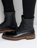 Aldo Scibelli Lace Up Boots In Black Leather