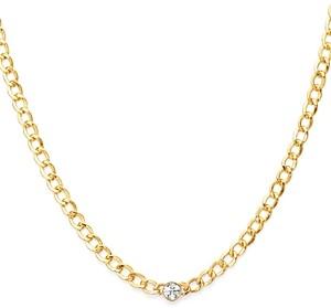 Zoe Lev 14K Yellow Gold Diamond Cuban Link Choker Necklace, 15