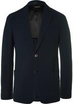 Giorgio Armani Upton Blue Slim-Fit Stretch-Wool Seersucker Blazer