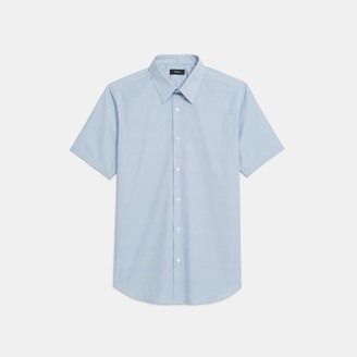 Theory Sylvain Short-Sleeve Shirt in Printed Stretch Cotton